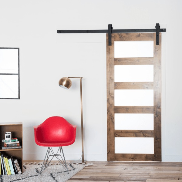 Contemporary 5 panel glass barn door from https://artisanhardware.com/