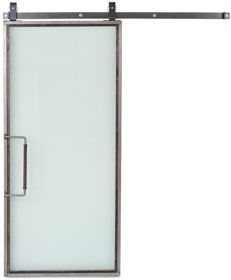 Frosted glass sliding barn door from https://rusticahardware.com