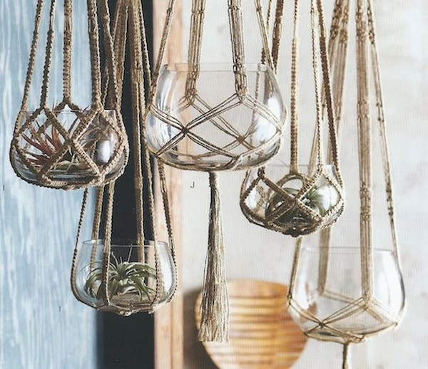 Macrame-hanging-glass-pots