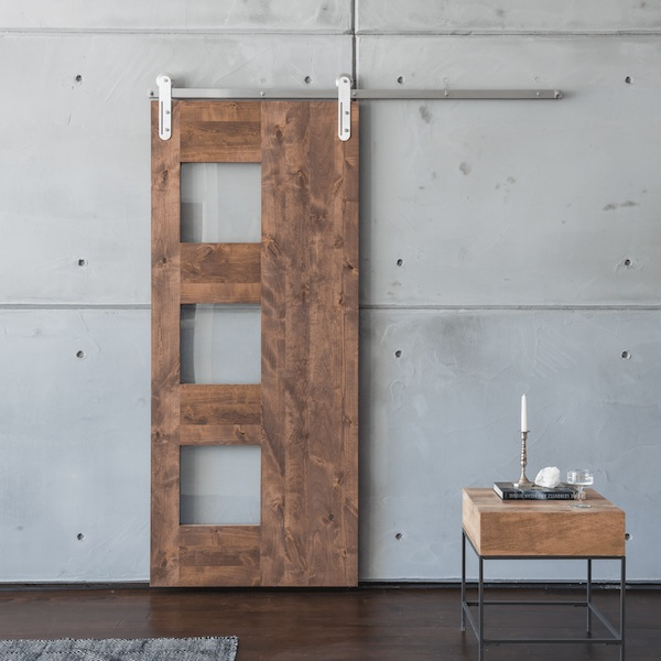 Mid-Century 3 Panel Sliding barn door from https://artisanhardware.com/
