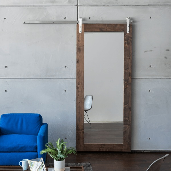 Mirror Panel Sliding Barn door from https://artisanhardware.com/
