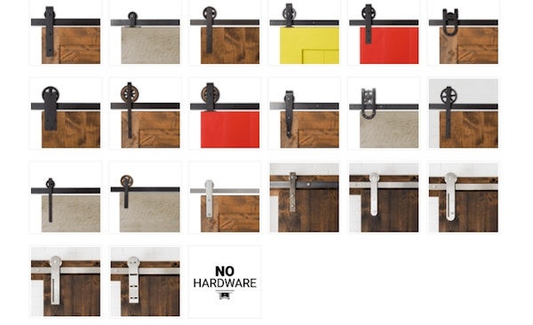 Barn Door Hardware choices from http://artisanhardware.com/product-category/barn-door-hardware/