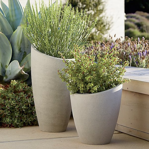 concrete slanted planter pot
