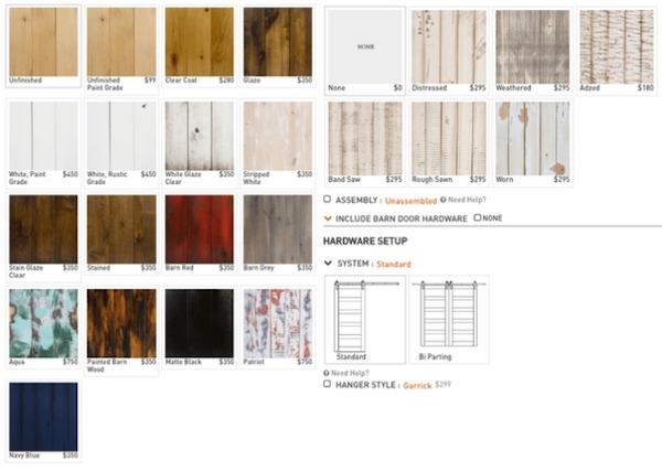 textures and finishes barn doors from https://rusticahardware.com